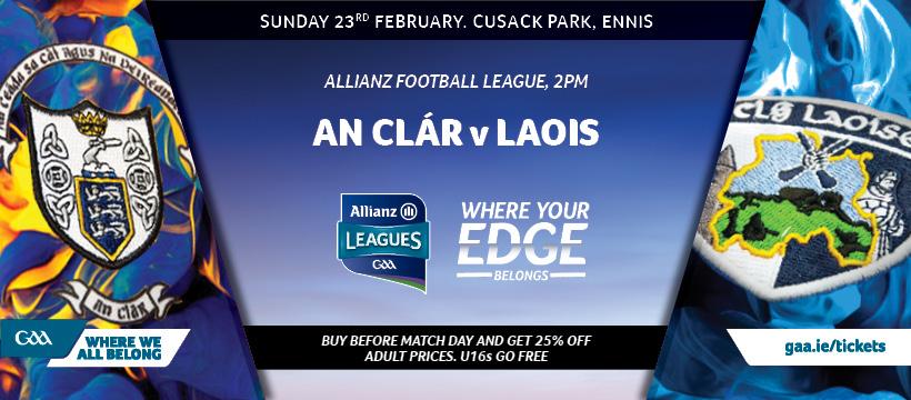 2020 Allianz Football League Division 2 – Laois 1-12 Clare 1-11